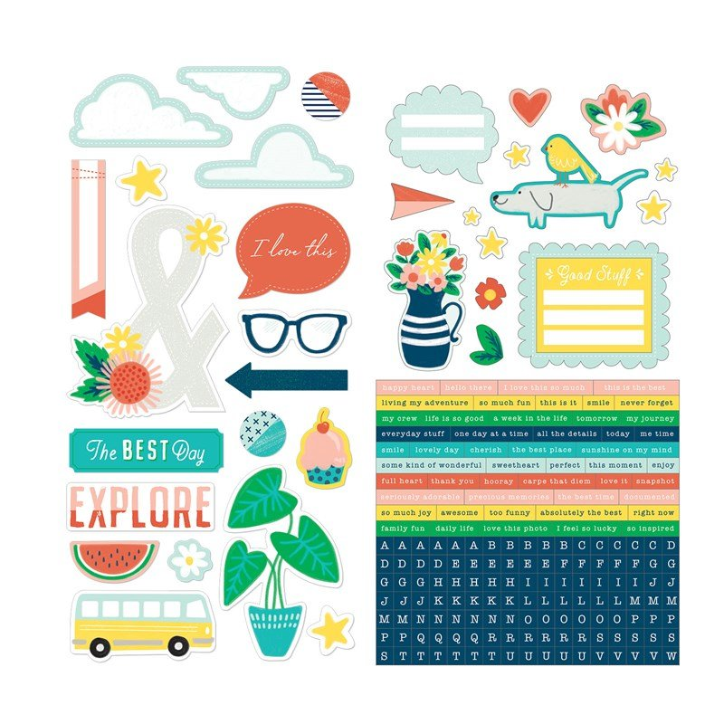 SO MUCH HAPPY-ness for your layout come from within this  Complements pack of Stickers and Die-Cuts